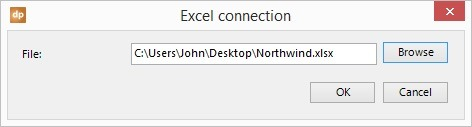 excel file selected for use in datapoint