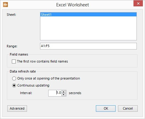 add excel connection to datasheet and set range