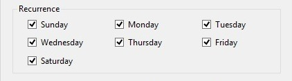 schedule days of week