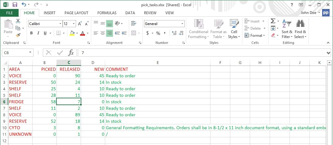 raw excel data with some long text