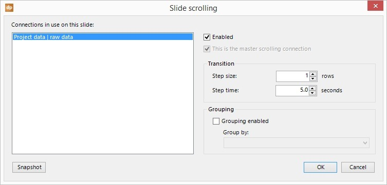 data scrolling for all projects