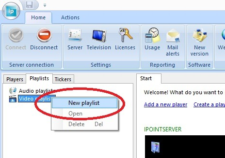 click to add a new playlist to the digital signage system