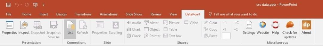 open datapoint menu in powerpoint