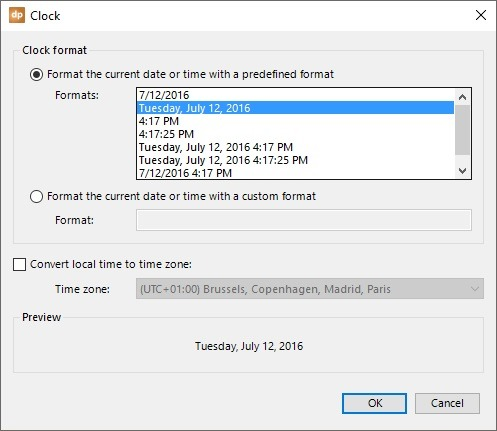 clock date and time properties
