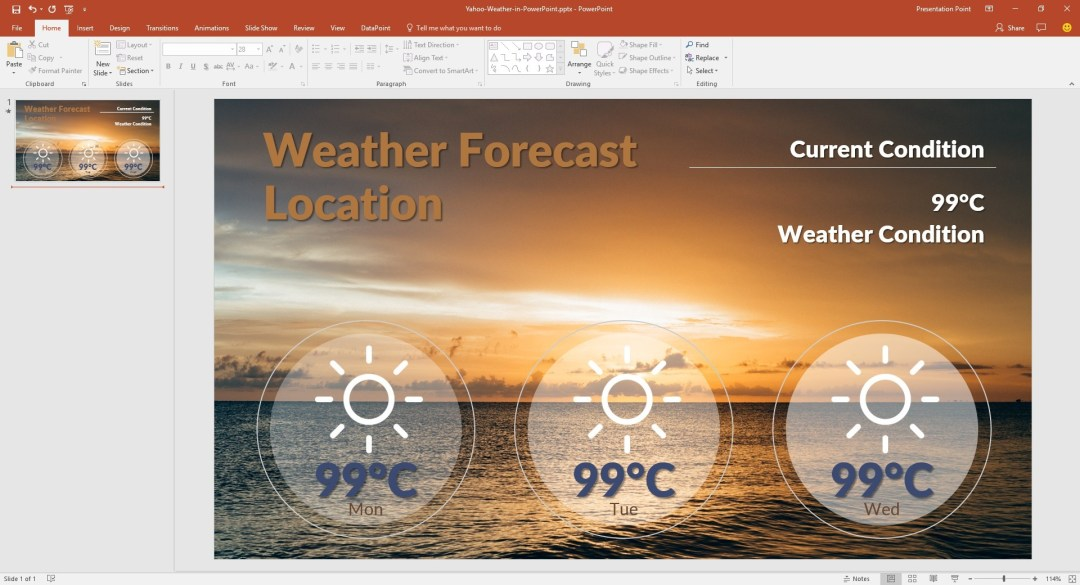 yahoo weather in powerpoint start presentation