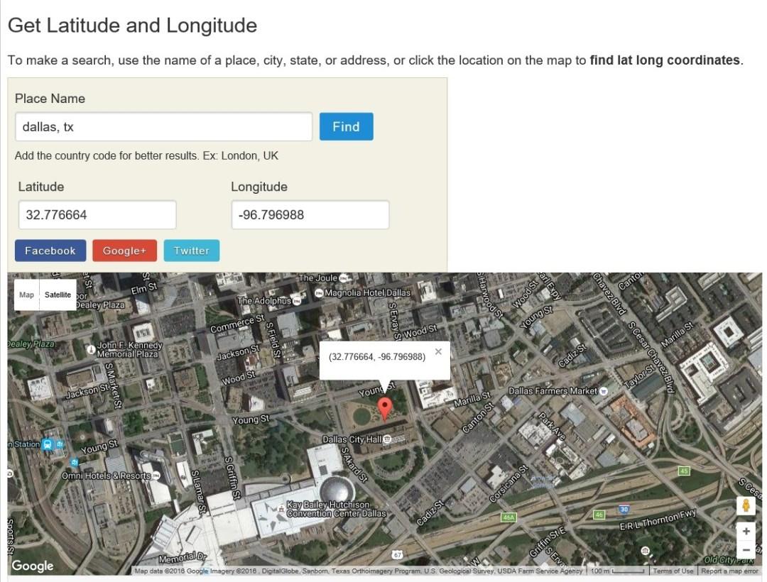 look up latitude and longitude