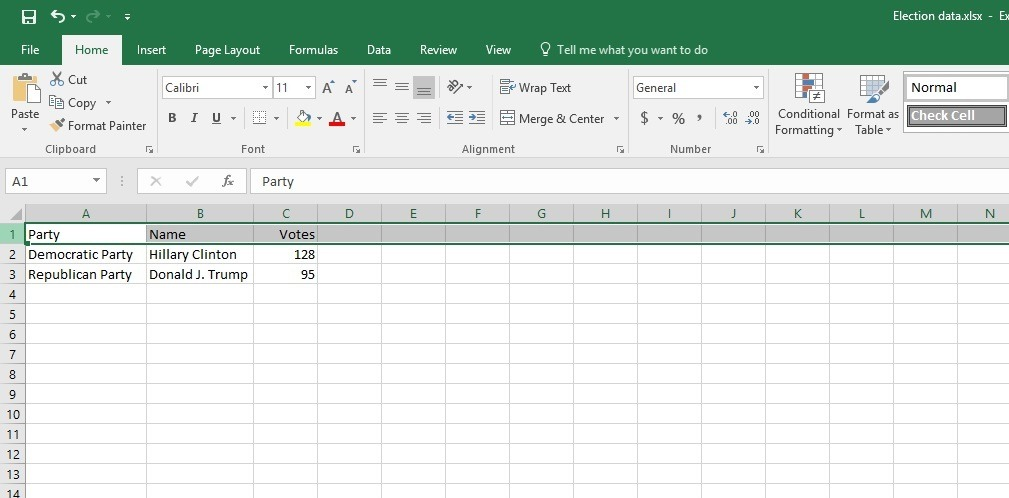 raw data in excel