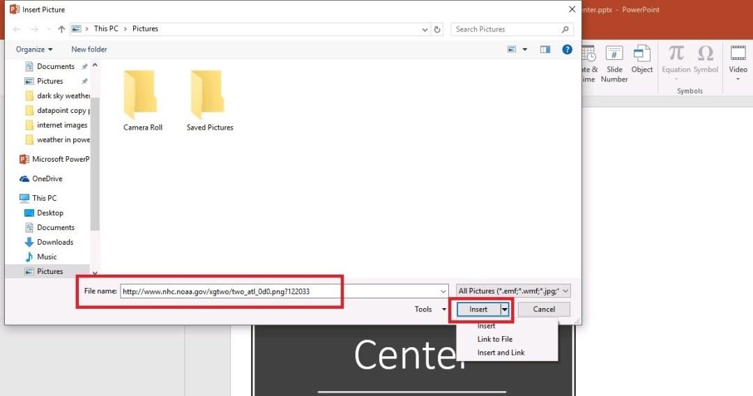 insert and link image in powerpoint