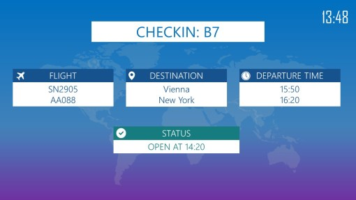 Premium PowerPoint template for Airports - Checkin info