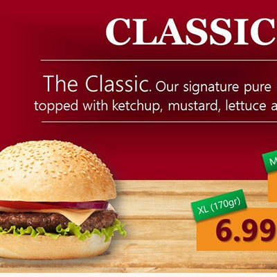 Premium PowerPoint Template for hamburger and take-away restaurants