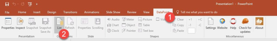 use network share datapoint in powerpoint