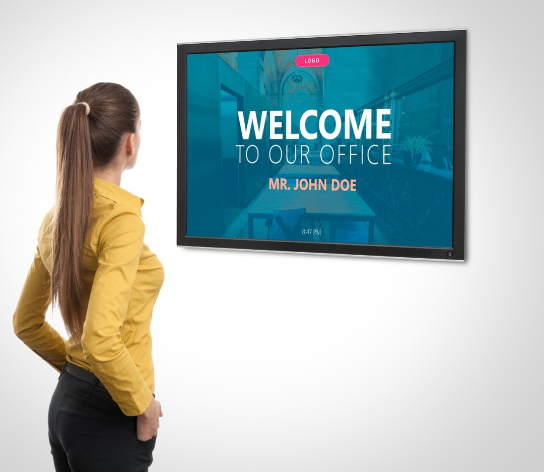 welcoming screen at reception - digital signage