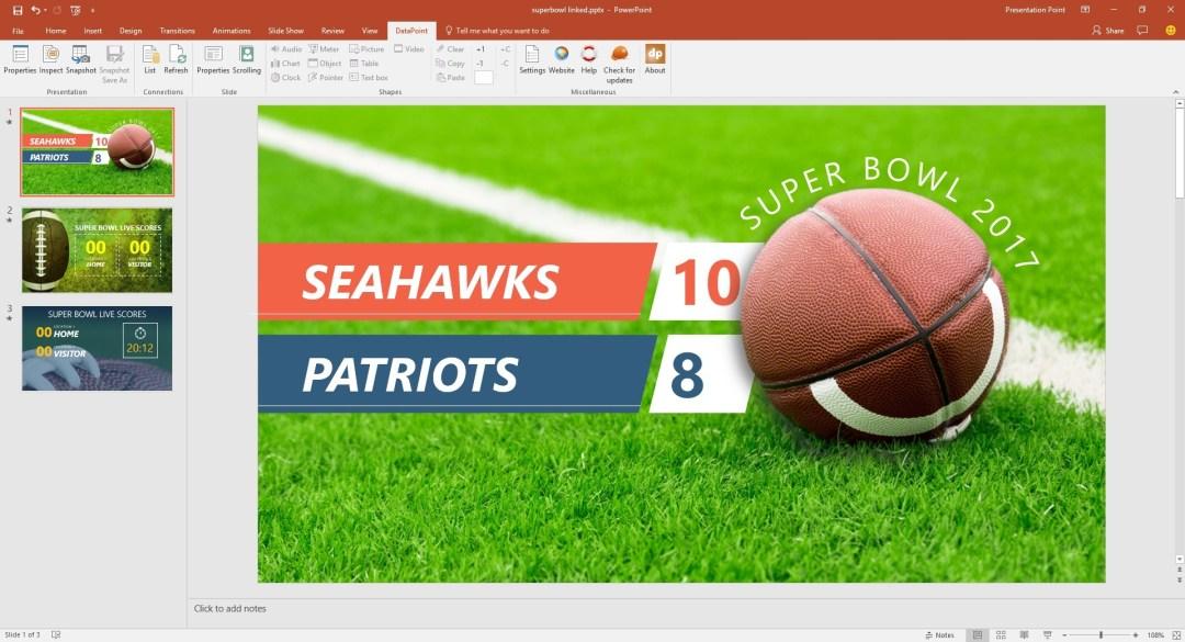 slide completely linked to superbowl score