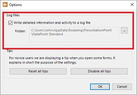 datapoint log files options