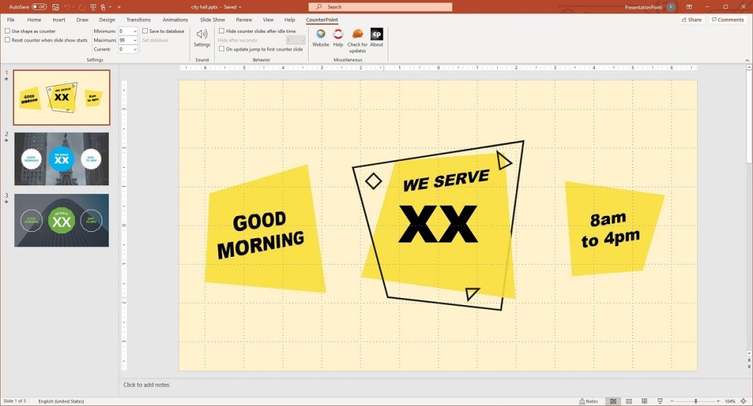 design your counter slide in PowerPoint as a normal slide