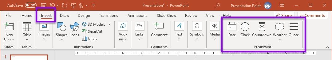 BreakPoint insert menu options