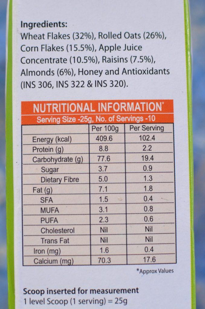 ingredients in vlcc crunchy muesli