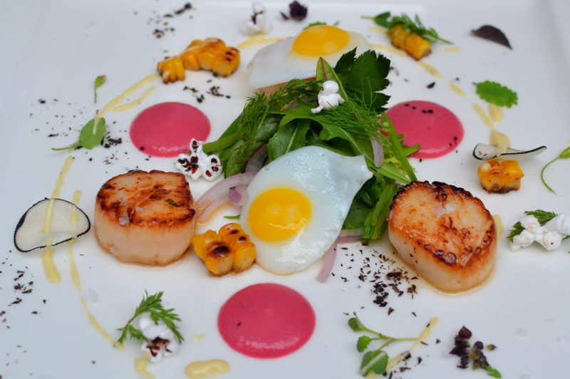Scallops with Quail Eggs