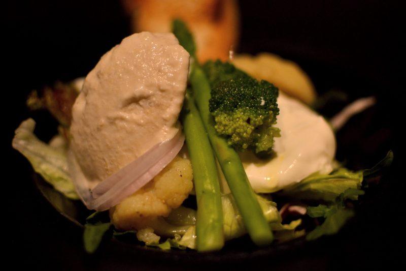 Burrata Salad with broccoli and asparagus