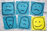 unhappy and happy faces