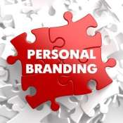 Personal Branding on Red Puzzle on White Background.