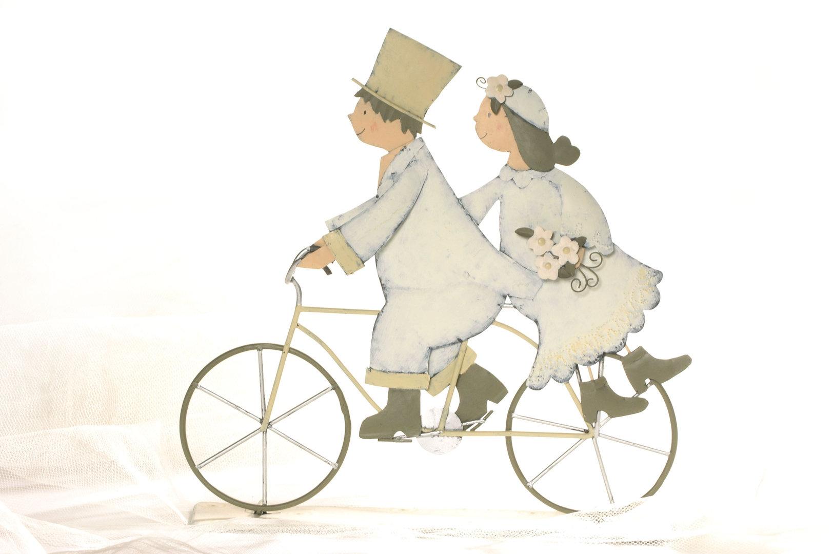 Brautpaar auf Fahrrad aus Blech  wwwpresentisde