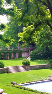 A split level garden view