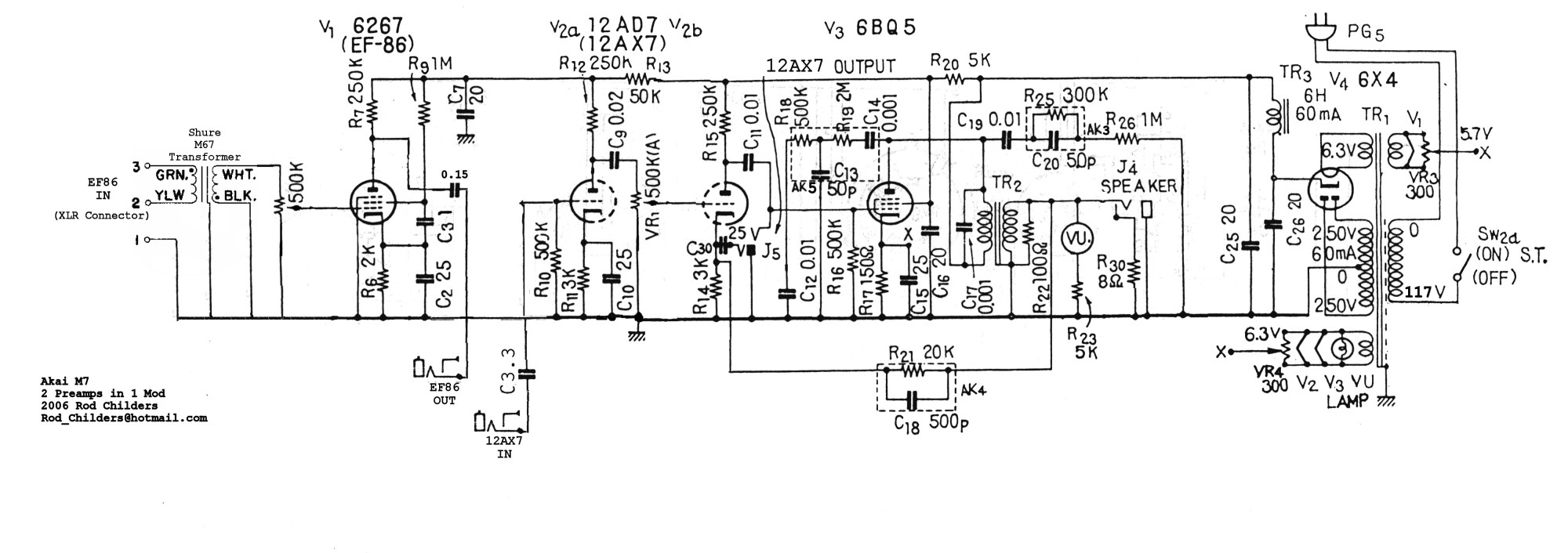 hight resolution of akai m7 right schematic mod 2 preamps in one