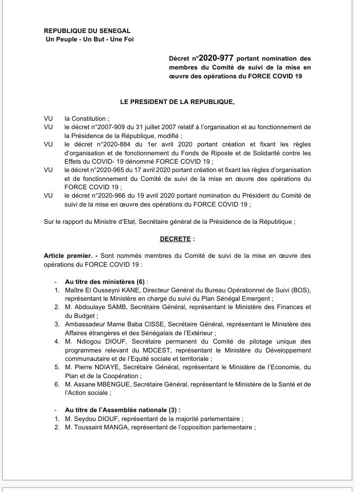 Décret portant nomination des membres du Comité de suivi de la mise en œuvre des opérations du FORCE COVID 19