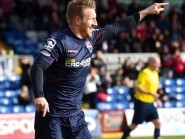 Michael Gardyne celebrates  the Staggies' opening goal