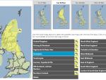"A yellow ""Be Aware"" weather warning has been issued."