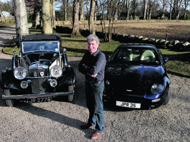 Joh Ratcliffe from Cults with his 1934 Alvis saloon and the 1999 Aston Martin DB7 i6.