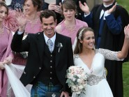Andy and Kim Murray leave the Cathedral after the ceremony