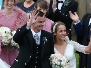 British tennis number one Andy Murray and Kim Sears after their wedding at Dunblane Cathedral