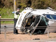 Police at the scene of  this afternoon's one car accient on the A9 at North Kessock which caused holdups for traffic in both directions during rush hour.