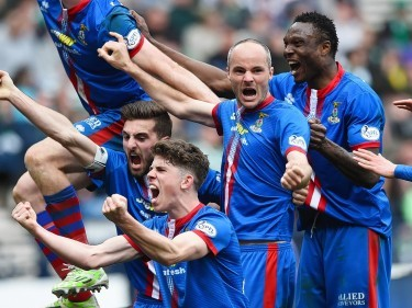 Caley Thistle players celebrate their first Scottish Cup final
