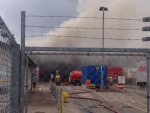 A large fire has taken hold in a waste station on Henderson Drive, Inverness