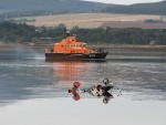The wreckage of the microlight slowly sinking into the Cromarty Firth