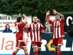 Formartine's Cammy Keith celebates with team-mates after scoring in the first half