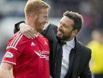 Aberdeen Manager Derek McInnes (right) with Adam Rooney