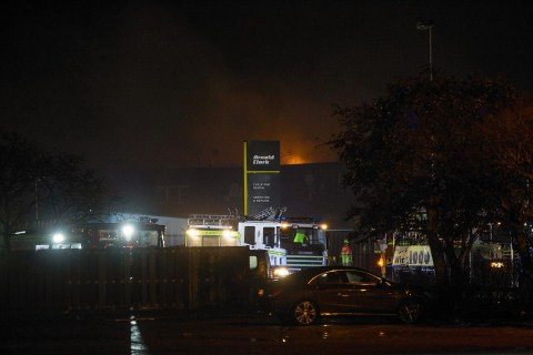 Fire crews are dealing with the blaze at Arnold Clark in Aberdeen