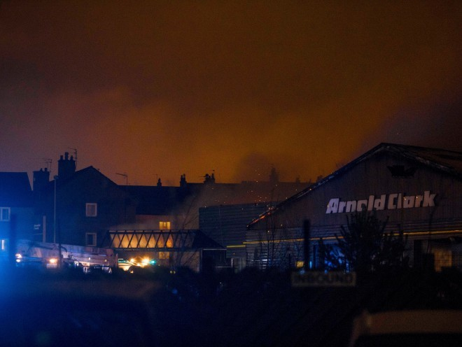 Fire crews dealing with the blaze at Arnold Clark in Aberdeen
