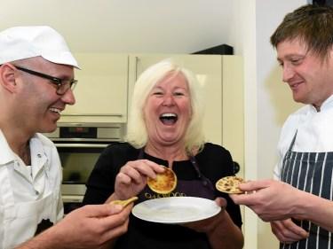 Professional chef, David Gow, Riverside Kitchens, Elaine Sutherland, and Masterchef semi-finalist, Darren Sivewright, launching the Tattie Scone World Championships