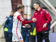 Jim McIntyre congratulates David Goodwillie after his goal