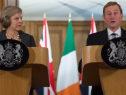 Prime Minister Theresa May and Irish Taoiseach Enda Kenny speak to the media inside 10 Downing Street