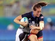 Great Britain captain Emily Scarratt in quarter-final sevens action against Fiji at Deodoro Stadium