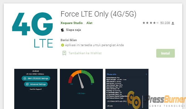 Aplikasi Force LTE Only