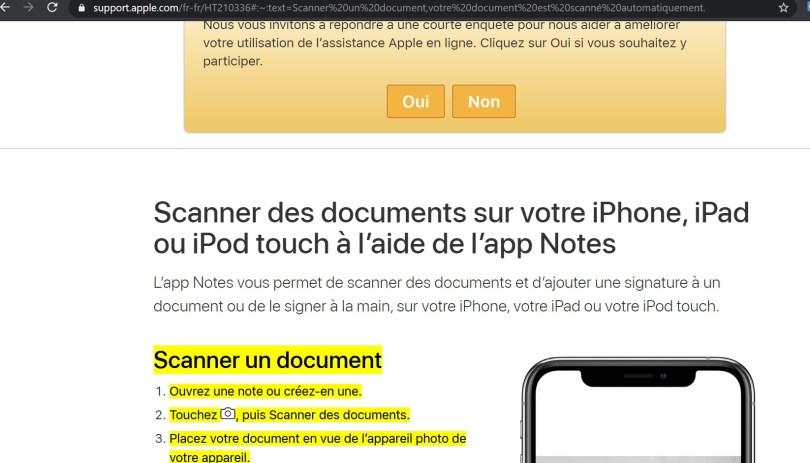 Capture d'écran sur le site web d'Apple