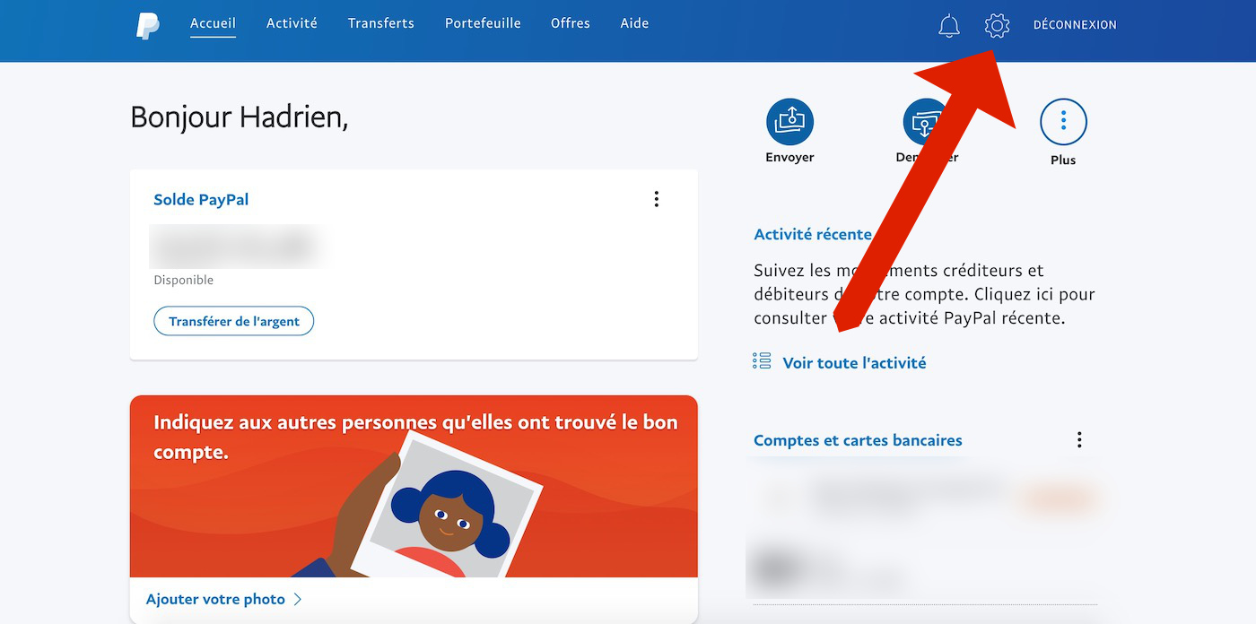 Supprimer compte PayPal