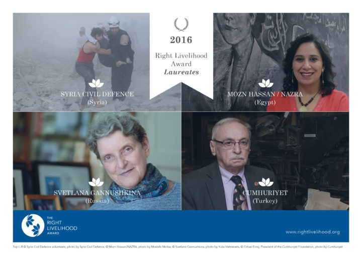 2016 Right Livelihood Awards Uphold Fundamental Human Rights and Values in the Face of War and Repression